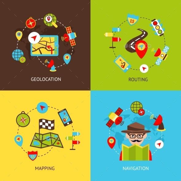 Navigation Icons Set  - Travel Conceptual
