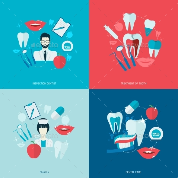 Teeth Icons Flat - Health/Medicine Conceptual