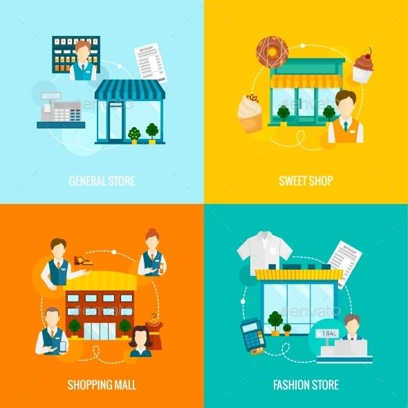 Store Building Flat Set - Concepts Business