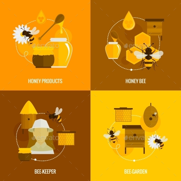 Bee Honey Icons Flat - Industries Business
