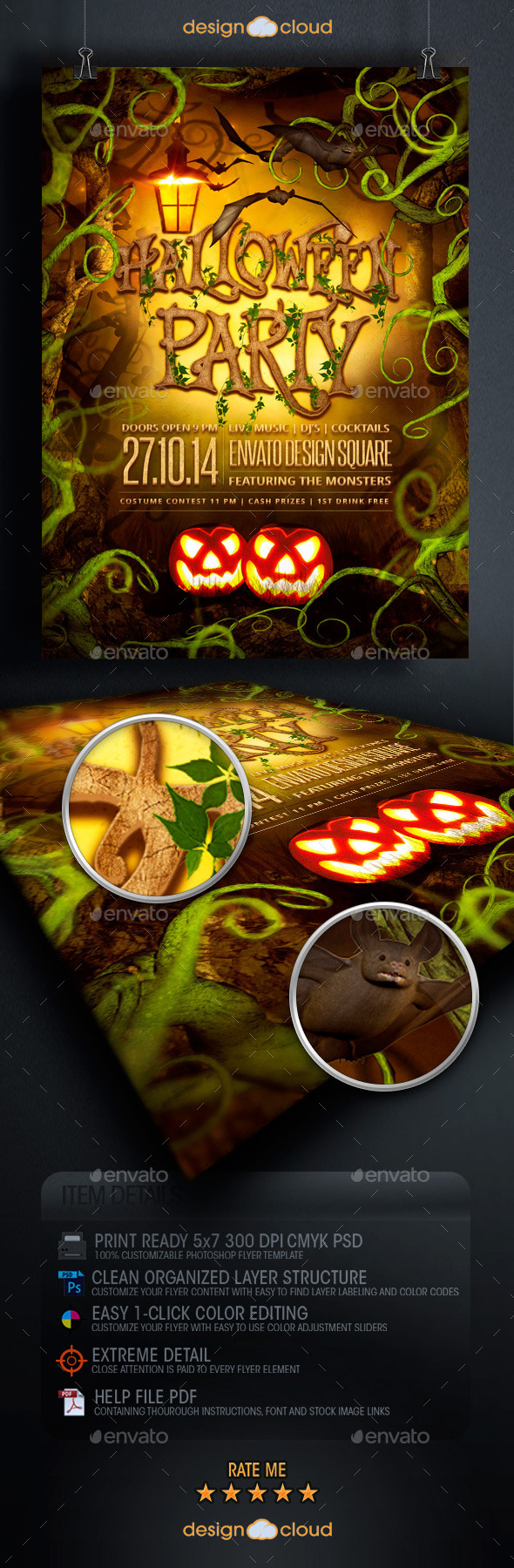 Spooky Forest Halloween Party Flyer Template - Holidays Events