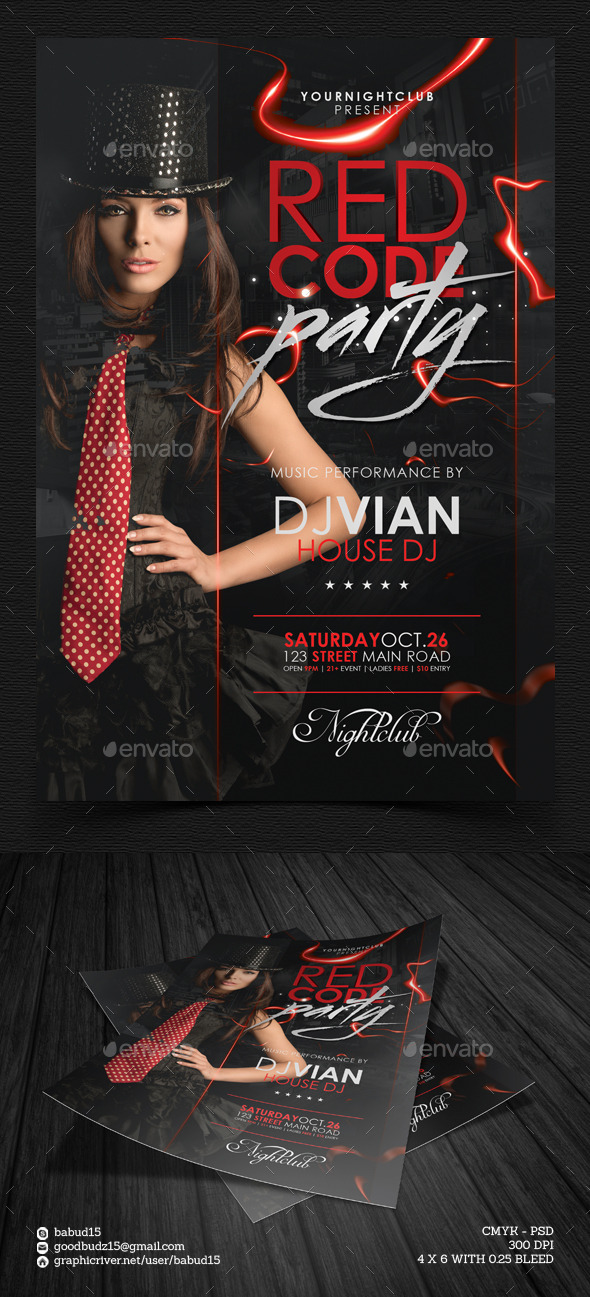 Red Code Party Flyer Template - Events Flyers