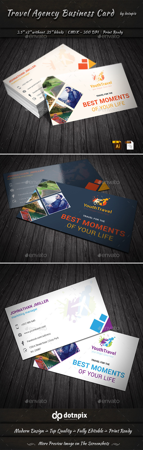 Travel Agency Business Card by dotnpix | GraphicRiver