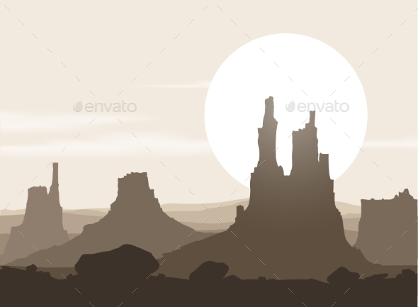 Lifeless Landscape with Mountains over Sunset - Landscapes Nature