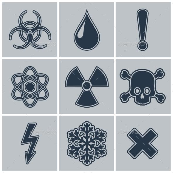 Icon Set of Warning Symbols - Decorative Symbols Decorative