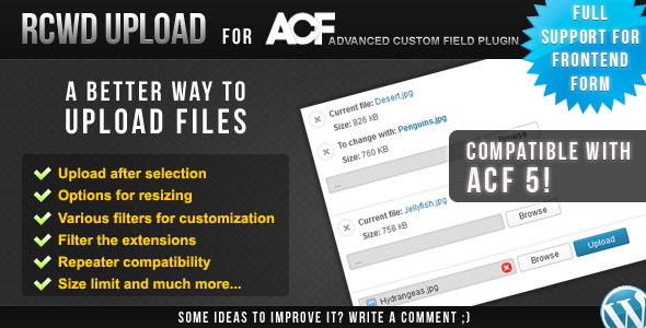 Rcwd Upload for Advanced Custom Fields - CodeCanyon Item for Sale