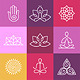Vector Yoga Icons and Round Line Signs - GraphicRiver Item for Sale