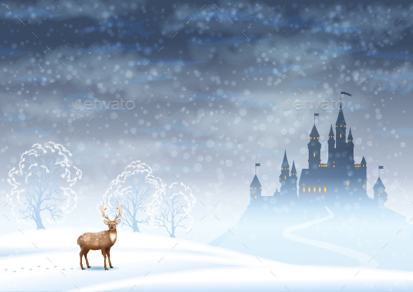 Christmas Landscape Winter Castle - Christmas Seasons/Holidays