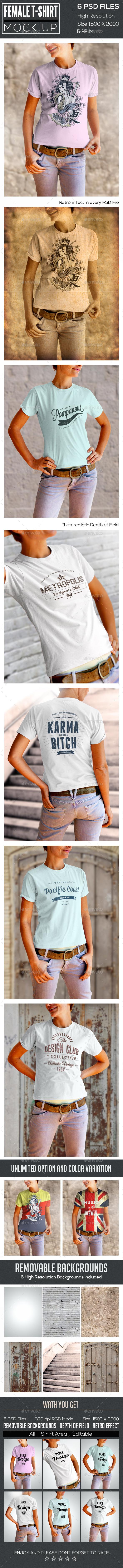 Female T-Shirt Mock Up  - T-shirts Apparel