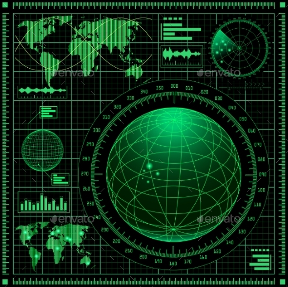 Radar Screen with World Map - Computers Technology
