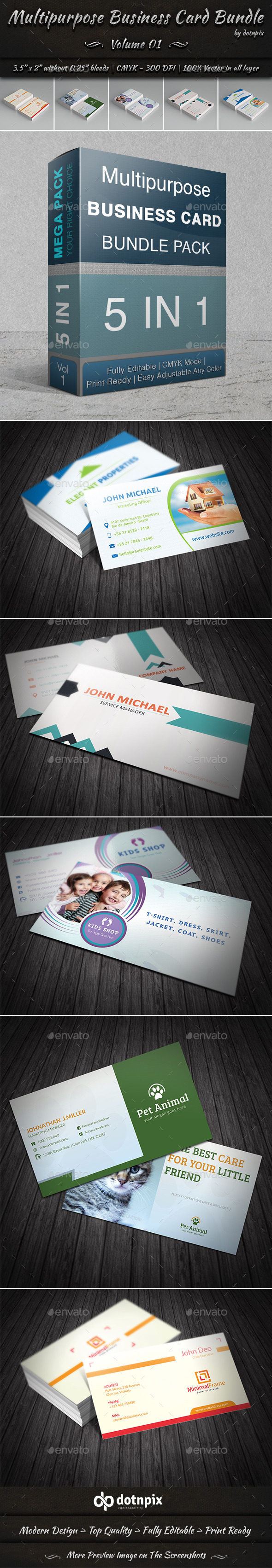 Multipurpose Business Card Bundle | Volume 1 - Corporate Business Cards
