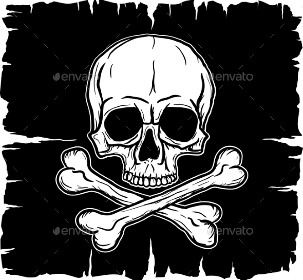 Skull and Crossbones over Black Flag - Objects Vectors