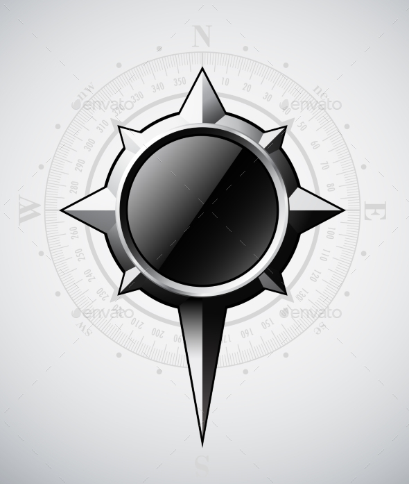 Steel Compass Rose with Scale - Objects Vectors