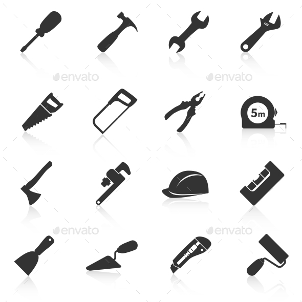 Set of Construction Tools Icons - Web Elements Vectors