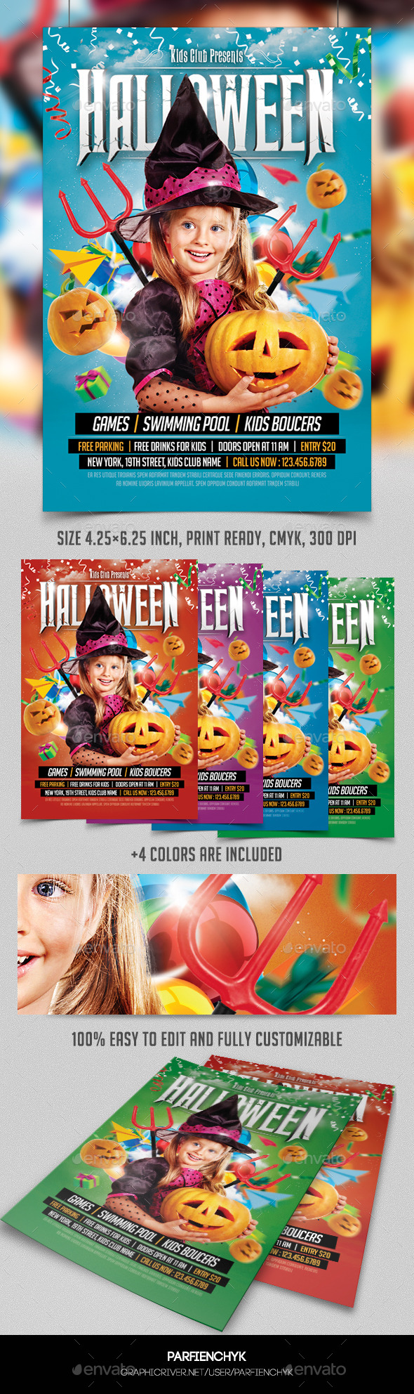 Kids Halloween Party Flyer Template - Events Flyers