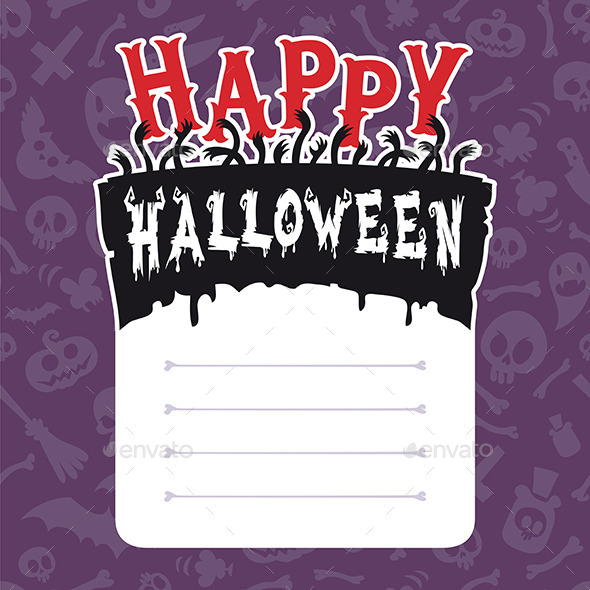 Happy Halloween Card with Text Box - Halloween Seasons/Holidays