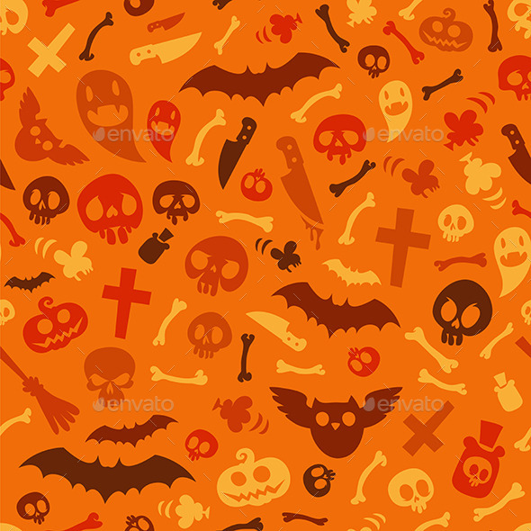 Halloween Symbols Seamless Pattern Orange - Patterns Decorative