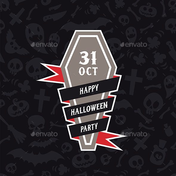 Happy Halloween Party Banner With Coffin - Halloween Seasons/Holidays