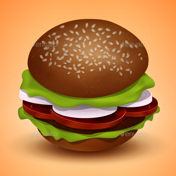 Vector Burger Illustration - Food Objects