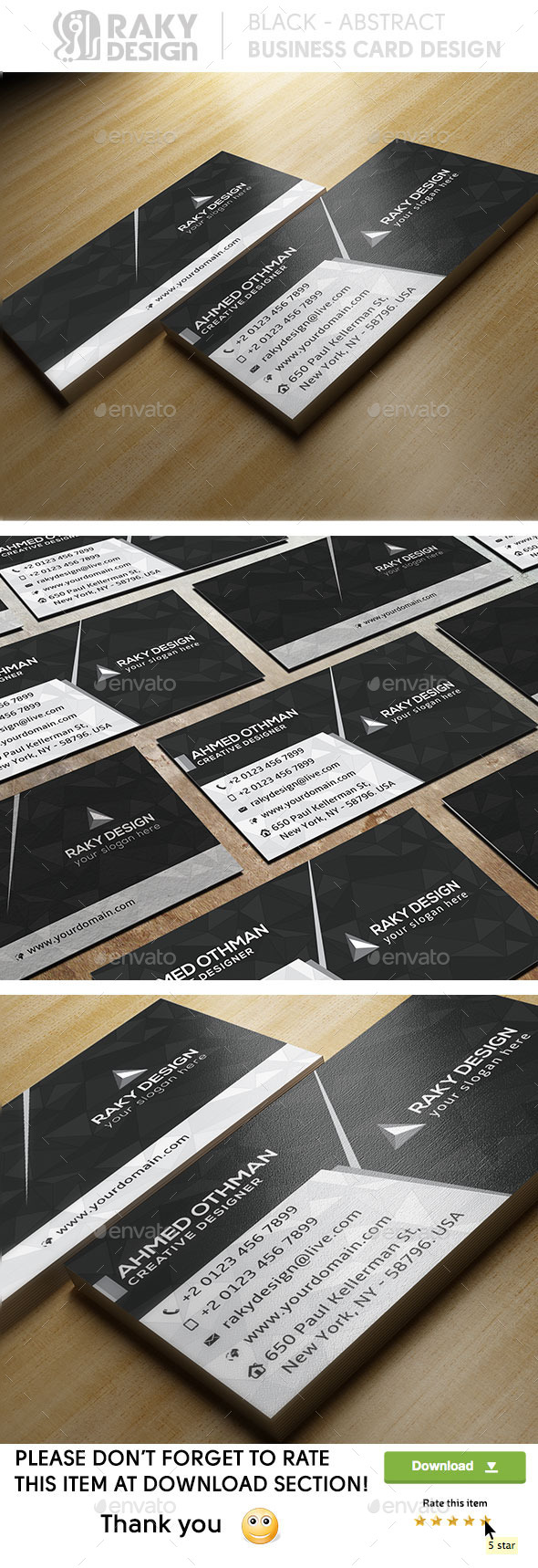 Black Abstract Business Card - Corporate Business Cards