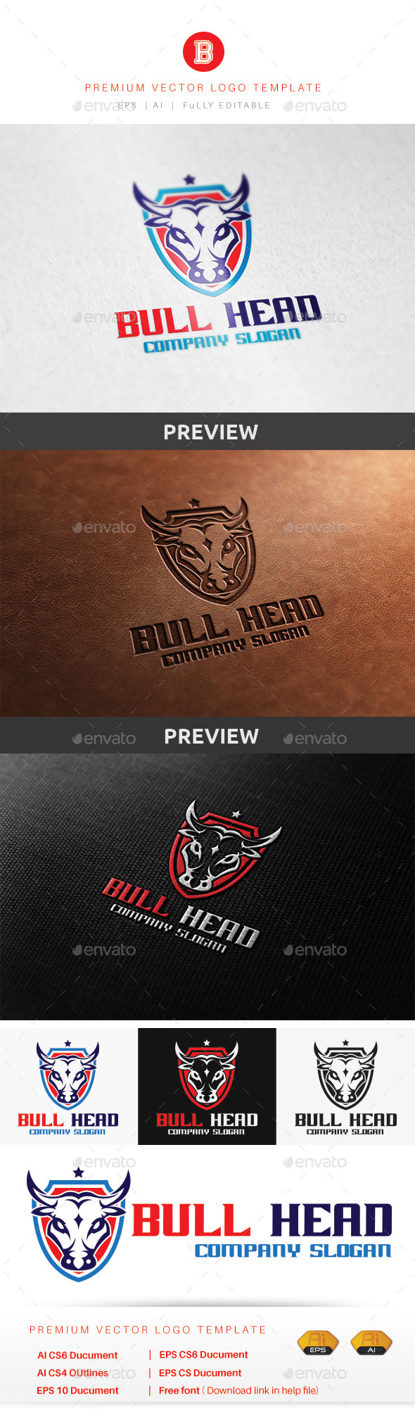 Bull Head - Animals Logo Templates