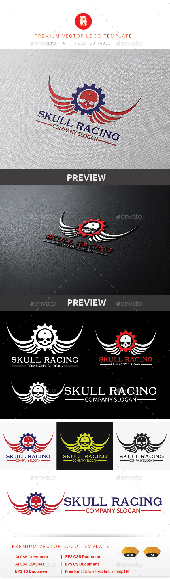 Skull Racing - Humans Logo Templates