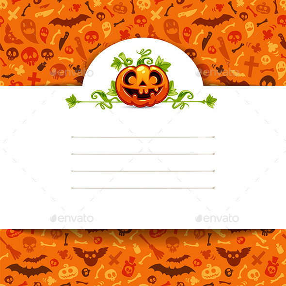 White Paper Sheet with Pumpkin on Halloween Background - Halloween Seasons/Holidays