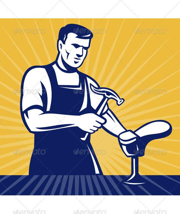 Shoemaker Shoe Repairman Retro Style - Industries Business