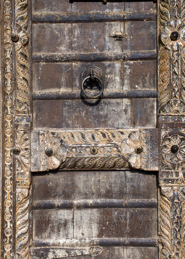 Detail of an old wooden door - Stock Photo - Images
