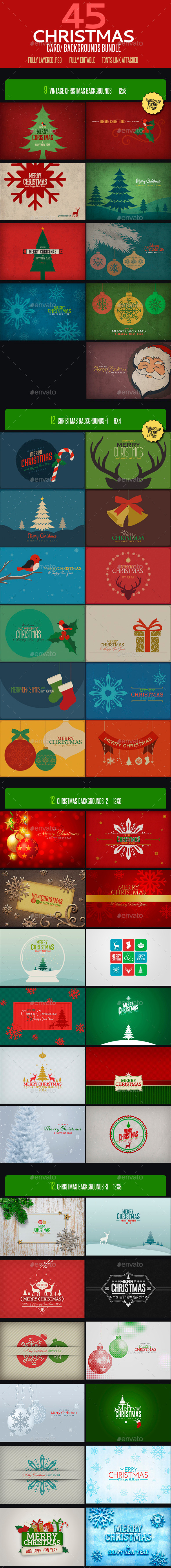 Christmas Card Backgrounds Bundle - Backgrounds Graphics