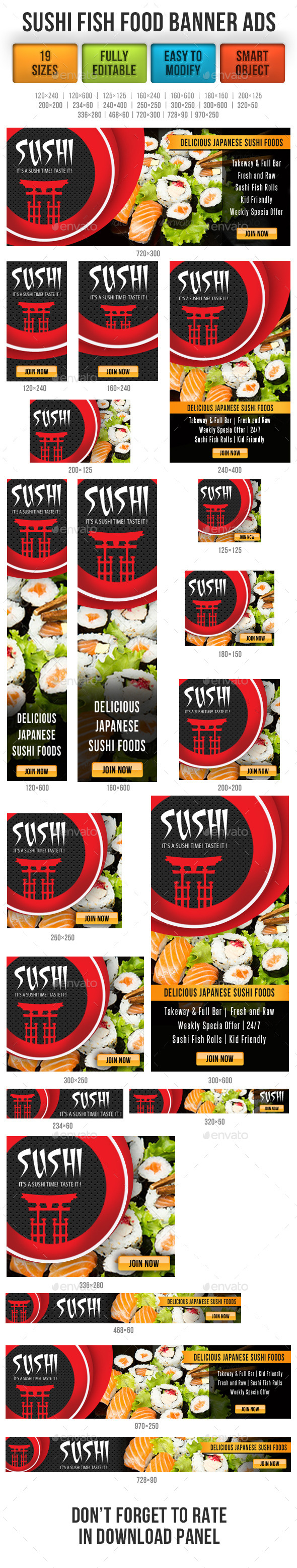Sushi Fish Food Banner Ads - Banners & Ads Web Elements