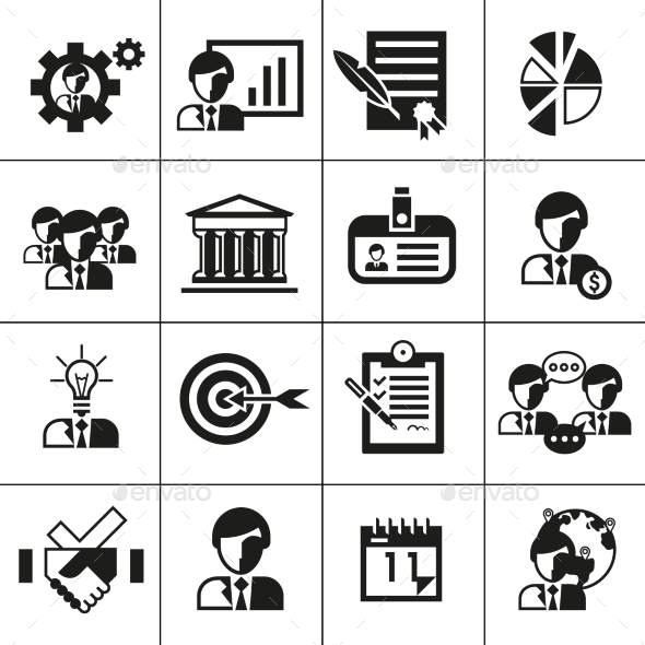 Business Management Icons Black - Web Technology