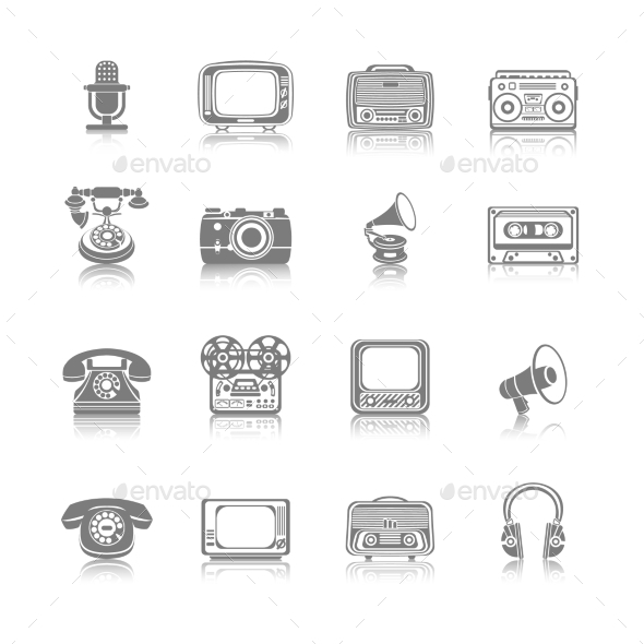 Retro Media Black Icons - Technology Icons