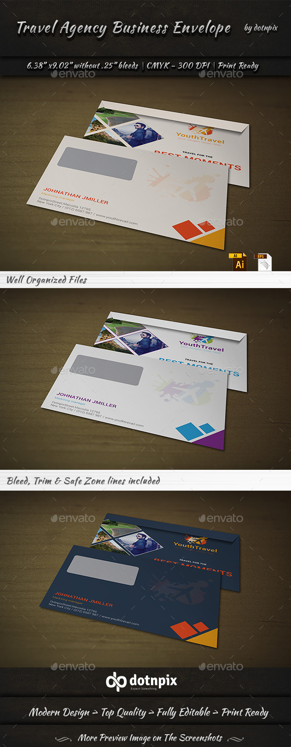 Travel Agency Envelope - Stationery Print Templates