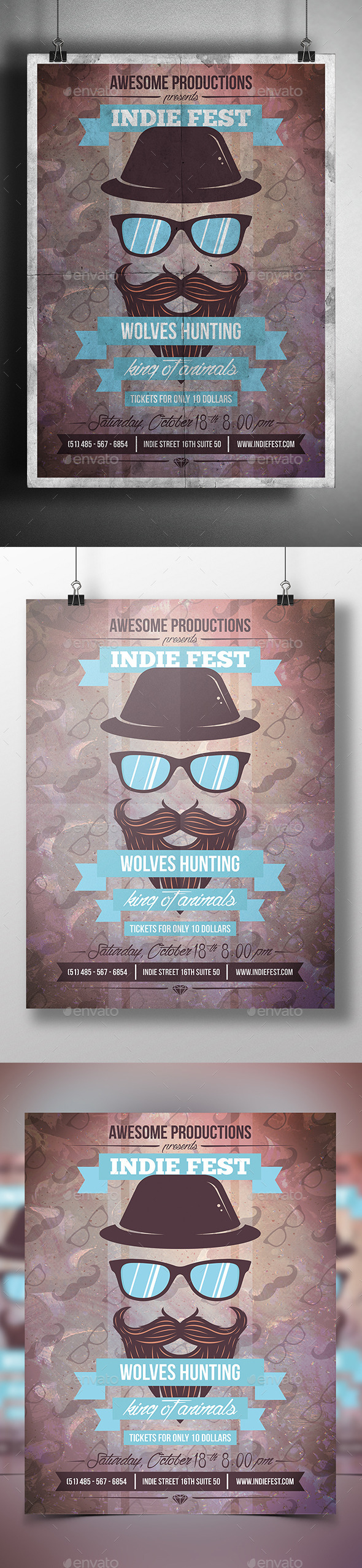 Hipster Party Flyer Poster - Clubs & Parties Events