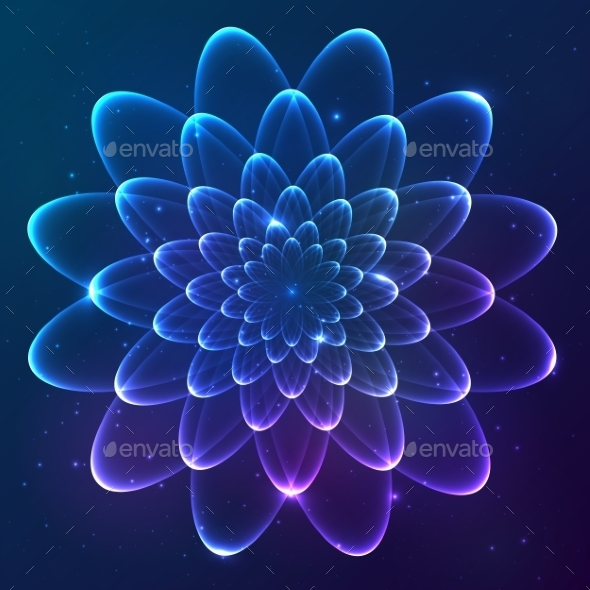 Blue Shining Vector Cosmic Flower - Abstract Conceptual