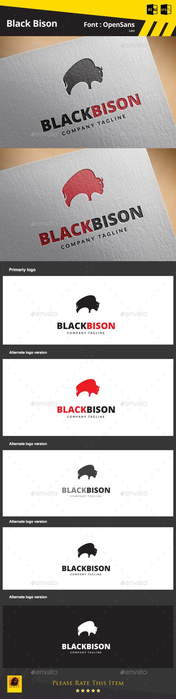 Black Bison - Animals Logo Templates