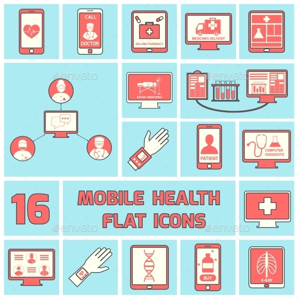 Mobile Health Icons Set Flat Line - Health/Medicine Conceptual