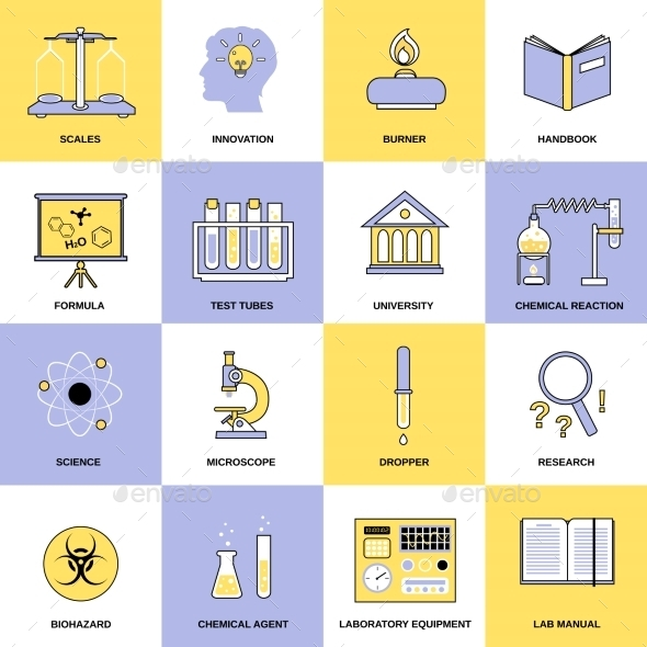 Chemistry Flat Line Icons - Web Icons