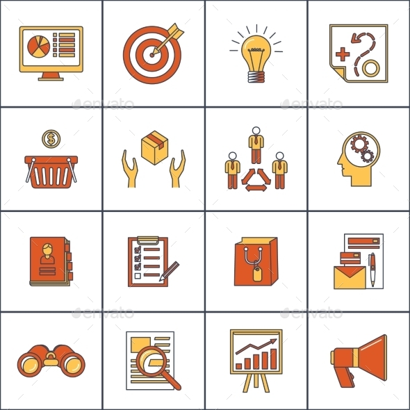 Marketers Flat Line Icons Set - Web Technology