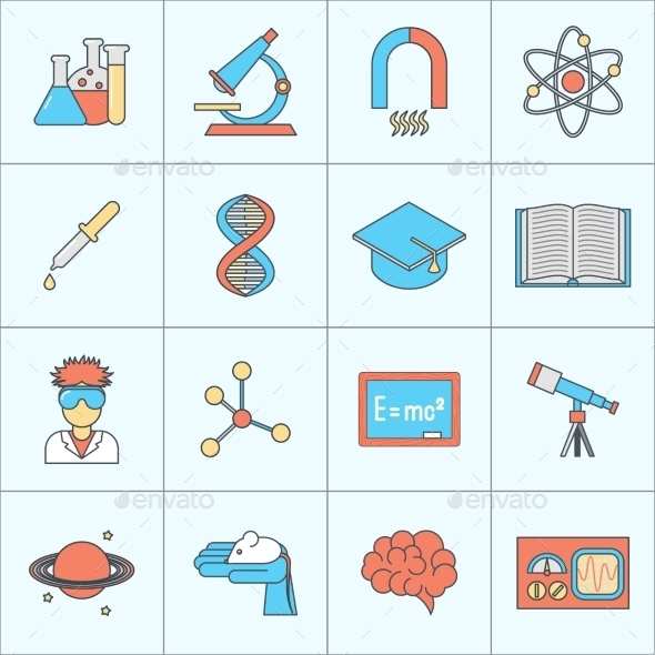 Science and Research Icons - Web Elements Vectors