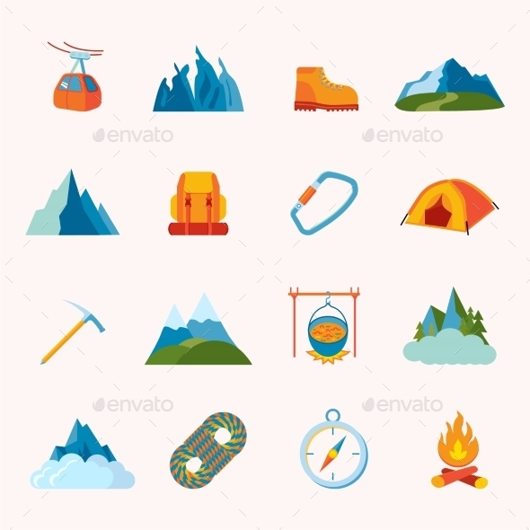 Mountain Icons Flat - Travel Conceptual