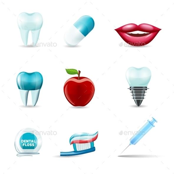 Dental Icons Realistic - Health/Medicine Conceptual