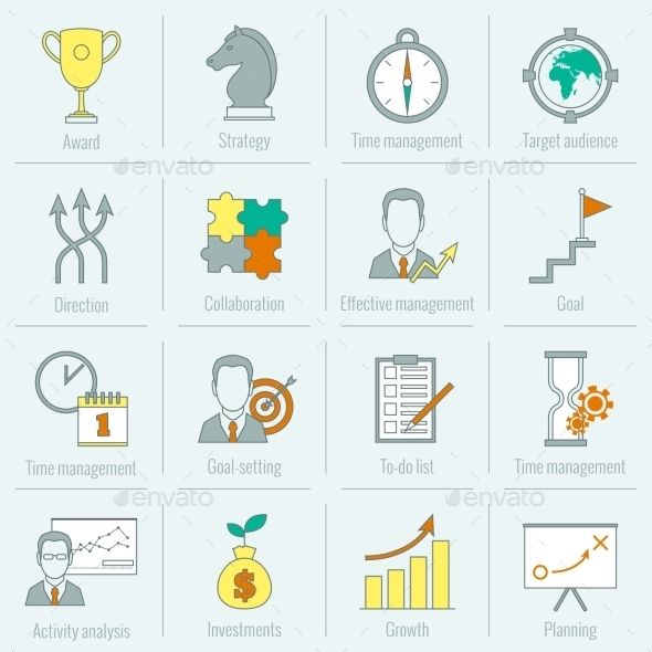 Business Strategy Planning Icon Flat Line - Concepts Business
