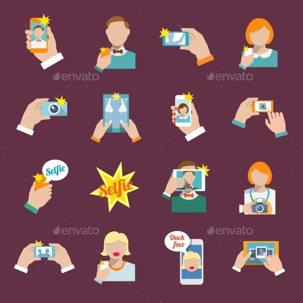 Selfie Icons - Technology Conceptual
