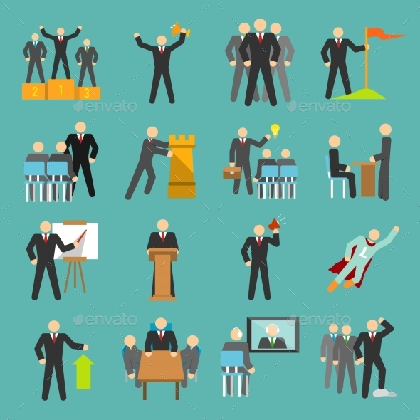 Leadership Icons Flat - Concepts Business