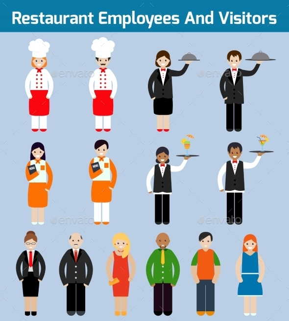 Restaurant Employees Flat - People Characters
