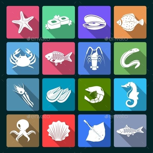 Seafood Icons Set - Web Elements Vectors