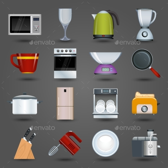 Kitchen Appliances Icons - Objects Vectors