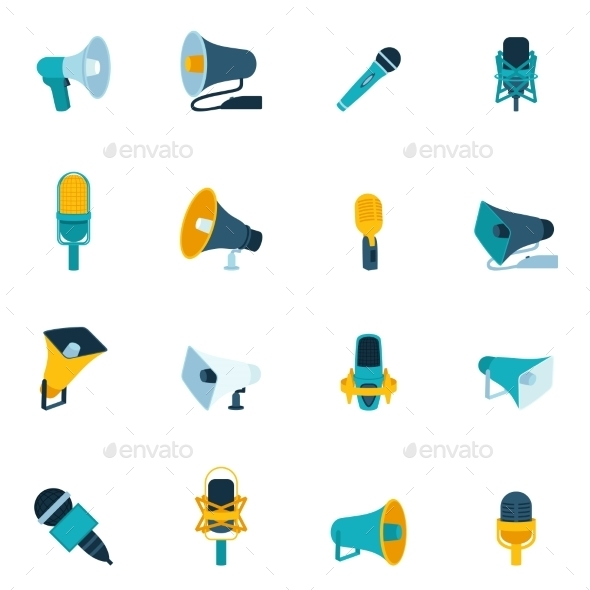 Microphone and Megaphone Icons Flat - Media Technology